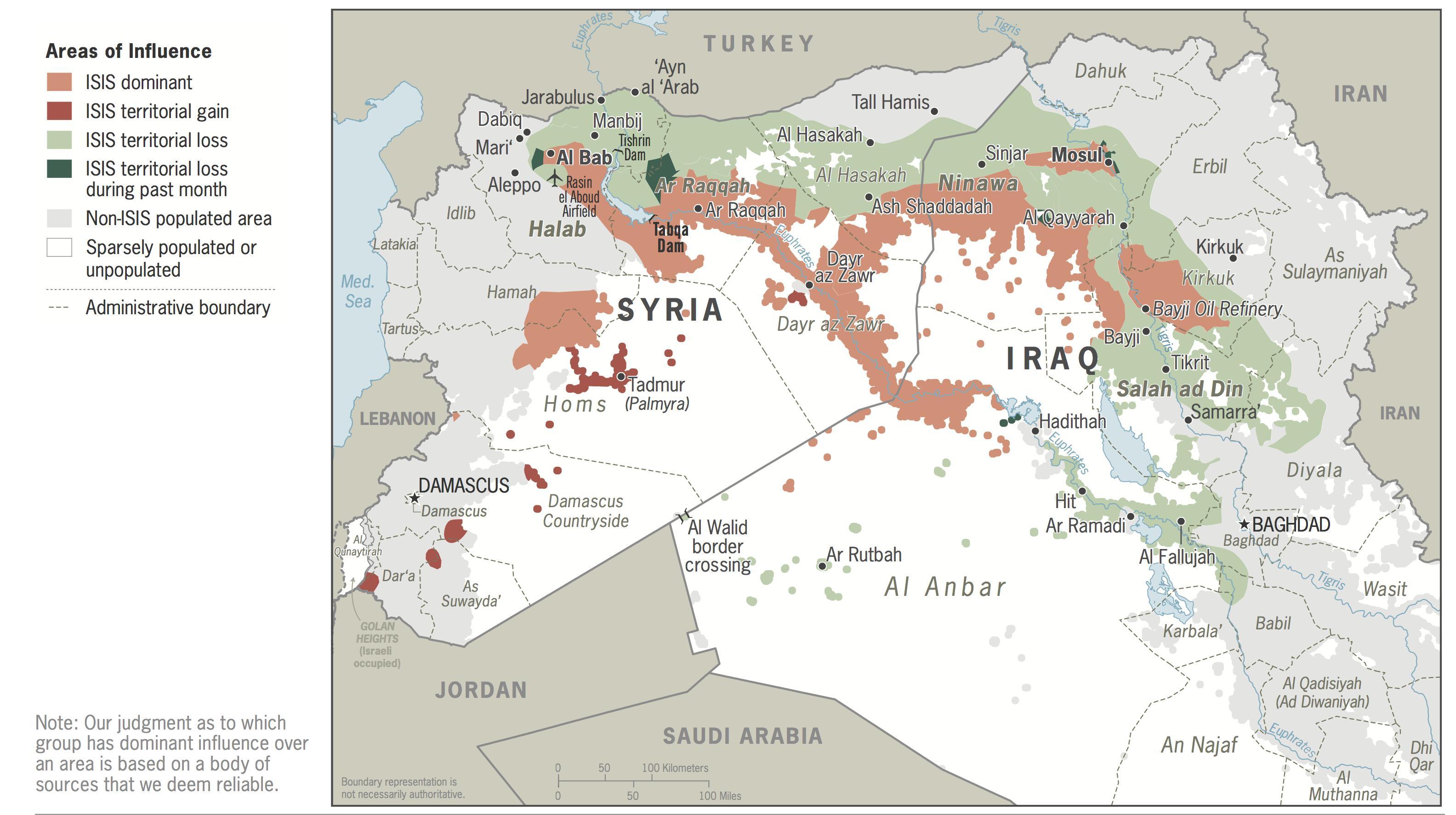 Daesh Areas of Influence – January 2017 Update