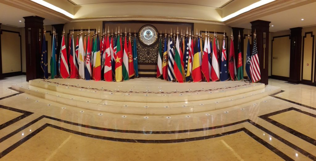 The flags of the Coalition's partners during the Kuwait Ministerial February 2018
